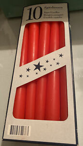 """New Boxed 10 Red Spitzkerzen Taper Candles 10""""/25cms Long Christmas Candle"""