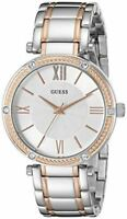 GUESS Women's U0636L1 Dressy Rose Gold-Tone Watch with Textured Silver Dial  and