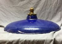 """Antique Cobalt Blue Gas Station Porcelain Pan Style Light Fixture 20"""" 296-18C"""