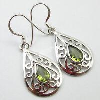 """tcw 2.0 PERIDOT CELTIC Drop Earrings 1.5"""" 925 Solid Silver Women Wedding Jewelry"""
