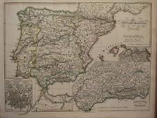1846 SPRUNER ANTIQUE HISTORICAL MAP ~ IBERIAN PENINULA SPAIN 1257-1479 GRANADA