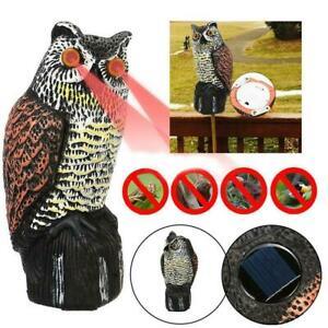 Realistic Owl Decoy Garden Pests Repellent Bird Scarecrow Sound Heads Z4F9