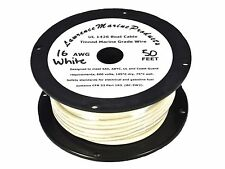 16 Gauge Tinned Marine Primary Wire / White / 50 Foot Reel