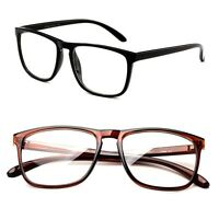 Classic Retro Inspired Clear Lens Squared Solid Color Frame Glasses No Logo