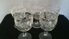 Set of four vintage 60's- 70's frosted grapevine and  gold rim footed goblets