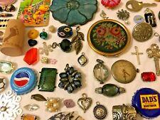 165+ pc VINTAGE LOT Jewelry Trinkets CHARMS Craft Rhinestone Watch Locket F.D.