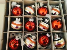 12 HALLOWEEN GLASS SPIDERWEB BALL ORNAMENTS GLITTER SHINY BRITE RADKO