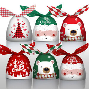 2022 NEW Christmas Santa Snowman Party Candy Biscuit Sweet Cookie Gift Bags x50