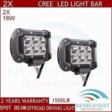 2pcs 18W CREE LED Work Light Bar 4WD SPOT Beam Offroad Driving Fog JEEP UTE SUV