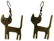 Ausgefallene Ohrringe Hänger Ohrhänger messingfarben Katze Cat Hauskatze 3646