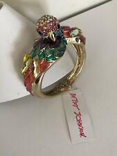 Betsey Johnson Bracelet Parrot Tropical Bird Enamel Crystal Statement Bangle New
