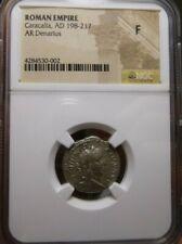 Roman Empire Caracalla AD 198-217 AR Denarius NGC F