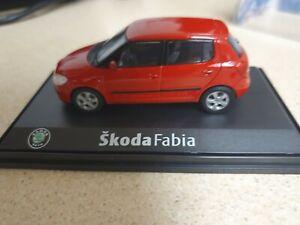 Abrex Skoda Model Car Fabia II 4-Door 2007 Red 1:43