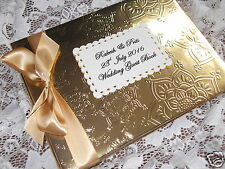 Indiano ispirato wedding guest book / album oro in RILIEVO MANDALA DESIGN BOXED