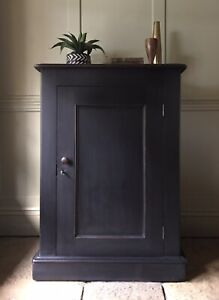 Antique Victorian Black Painted Large Pot Cupboard Sideboard Hall Cupboard
