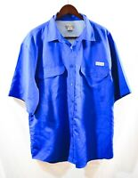 Realtree Mens Vented Shirt Short Sleeve Button Down Blue Size XXL Polyester