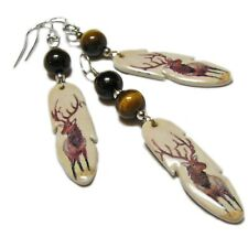 Tiger's Eye & Ceramic Feather Sterling Silver Earrings & Pendant Set By SoniaMcD