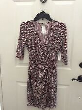 Laundry by Design faux wrap rushed dress 3/4 sleeve red white 6P