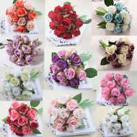 12 Head Silk Rose Fake Flower Wedding Bouquet Home Decor Party Decoration