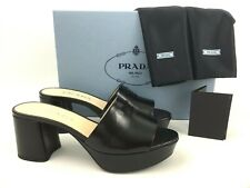 39 EU PRADA Logo Block Heel Platform Mule Slide Sandal Black Saffiano Leather