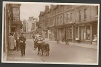 Postcard Lyndhurst New Forest Hampshire the High Street donkeys shops signs RP