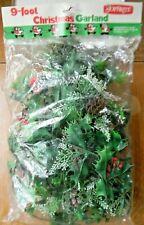 Vintage Joybrite 9' Christmas Garland Plastic Holly Pinecones Thailand Unopened!