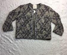 df8ed6ab New ListingZara Knitwear Embellished Open Sweater Large Cardigan Jacket  Gray Tweed Wool S4