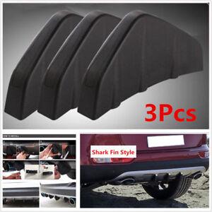 3Pcs Universal Auto Car Rear Bumper Diffuser Molding Shark Fin Spoiler Protector