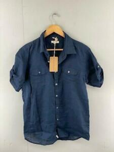 Colorado Mens Navy Linen Short Sleeves Collared Button Up Shirt Size Small NWT