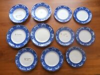 Lot 11 ANTIQUE J & G MEAKIN BALMORAL Flow Blue Plate Dinner Salad Dessert Bowls