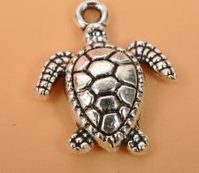 30pcs Charm Tibetan silver Sea turtles pendant beaded Jewelry DIY  Findings 18mm