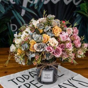 European Rose Artificial Flower Wedding Party Home Decor Silk Fake Flowers