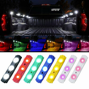 Xprite 4/8pcs LED Strip Light Pod Truck Bed Decor Offroad Underglow Rock Lamp