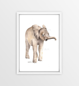 Baby Elephant Print - watercolor elephant prints, nursery art, nursery decor
