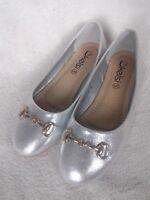 Size 5 Silver Metallic Shiny Sparkly Flat Ballerina Pump Flat Shoes
