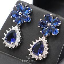 Vintage Pear Halo Dangle/Drop Blue Sapphire Earrings Nickel Free Jewelry Plated