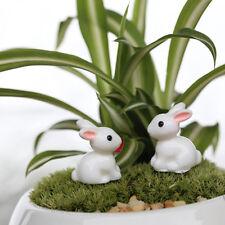 4x lapin miniature ornement maison décoration fée jardin figurine RK