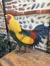 Grand Coq Tôle Peinte Multicolore Metal Fer Art Populaire Décoration 1980 Art