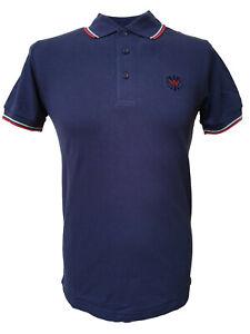 Warrior UK England Pique Polo Shirt Navy Blue Slim-Fit Skinhead Mod Punk Hemd