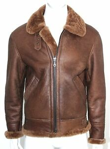 Men's Cognac B3 Shearling Sheepskin World War 2 Leather Flying Aviator Jacket
