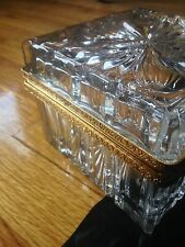 French Crystal Ormolu Jewelry Casket Box