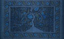 Handmade Cotton Tree of Life Tapestry Throw Tablecloth Spread Twin 70x104 Blue