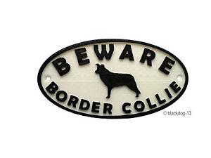 Border Collie & Motif Beware Of The Dog Sign  House Garden Plaque - White/Black