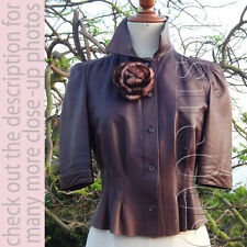 Vintage Mink Pin/Brooch/Scrunchies PRADA Leather Cropped Top/Blouse/Jacket 40S-M