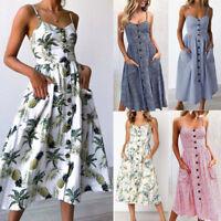Women's Holiday Strappy Button Pocket Ladies Summer Beach Swing Dress Sun Dress