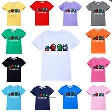 Kids Among Us T-shirt Impostor Crewmate Game T-Shirts Tops 100% Cotton Tee Gifts