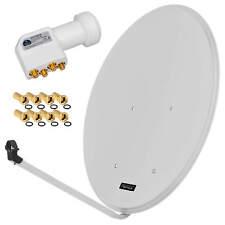 HD Antenna Dish Digital Aluminium Sat Installation 80cm Mirror + Quad LNB 4