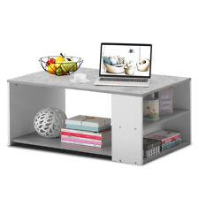 2-Tier Simple Coffee Table Sofa Side Table w/2 Storage Shelves Living Room Gray