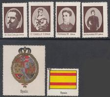 Spain Scott labels for Album page Header Coat of Arms & Flag & 4 Rulers