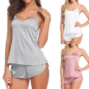 Women Sleepwear Sleeveless Satin Silk Women Pajamas Set Outfits Nightwear Sexy